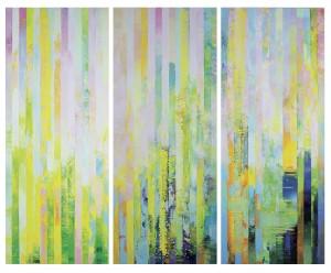 Massimo Kaufmann Giardini squisiti 2014 olio su tela, 240 X 270 cm (tre pannelli)