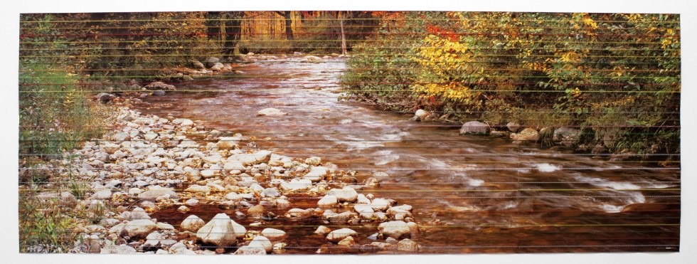 Stefano Arienti, Autunno in New Hampshire, cuciture su poster, cm 137x384, 2010