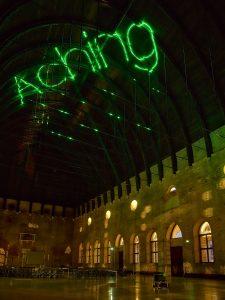 Arthur Duff, SCATTER/CADAVER, 2017, proiezione laser verde sulla carena della Basilica Palladiana. Ph Lorenzo Ceretta